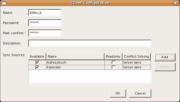 In diesem Fenster werden alle Parameter für den Client eingestellt und die Quellen hinzugefügt