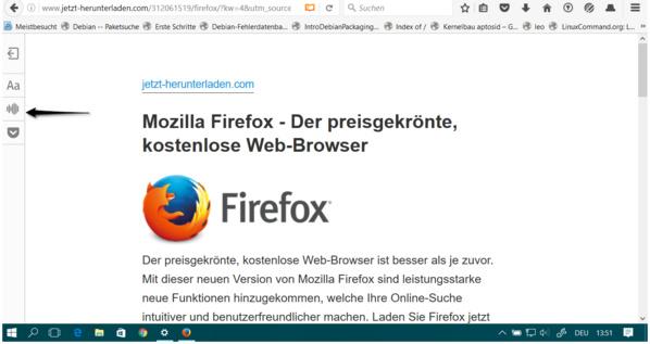 Firefox 49 liest Webseiten vor