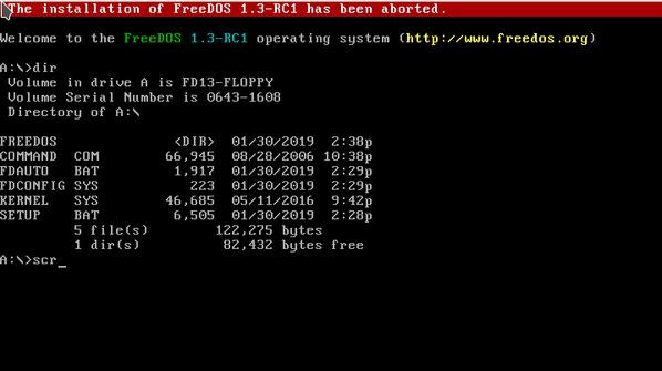 FreeDOS 1.3 RC1