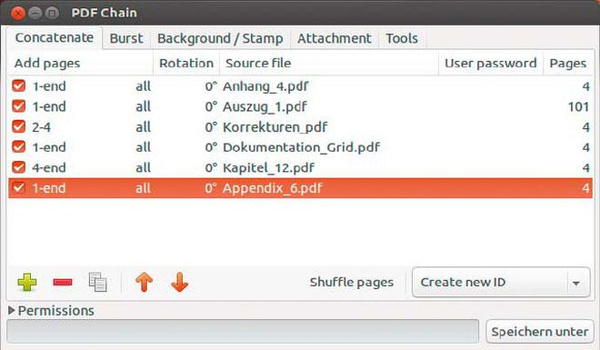 Front-End für pdftk: PDF Chain stellt mehrere PDF-Dokumente neu zusammen, kann Dateien in einzelne Seiten aufteilen, mit Wasserzeichen versehen und Dateien in ein PDF einbetten