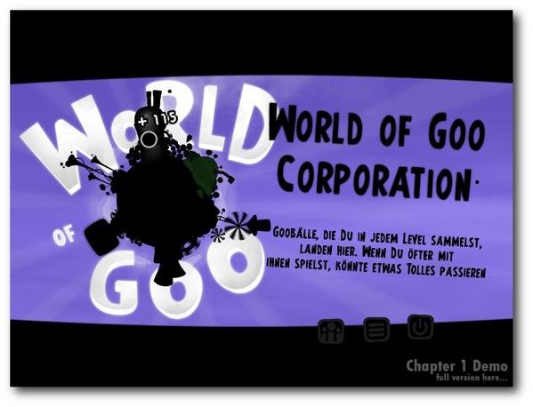 Der Startbildschirm mit der Auswahl der Level und der Goo-Corporation