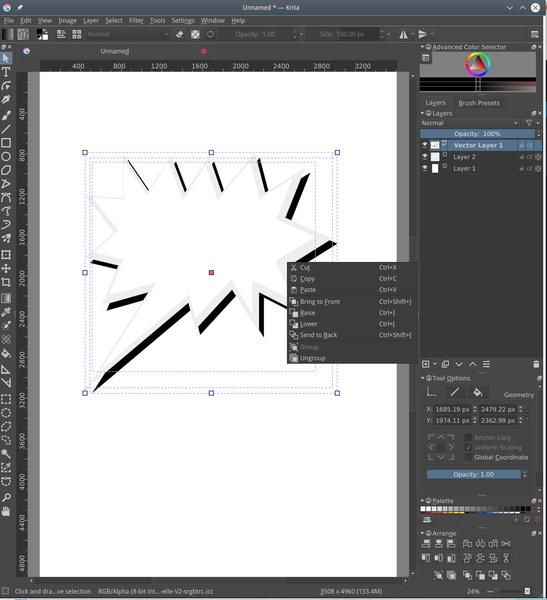 Inkscape-kompatible Vektorgrafik in Krita 4.0