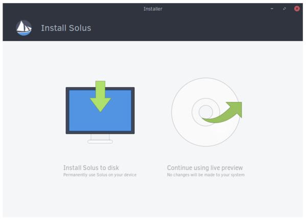 Wahl zwischen Installation und Live-System