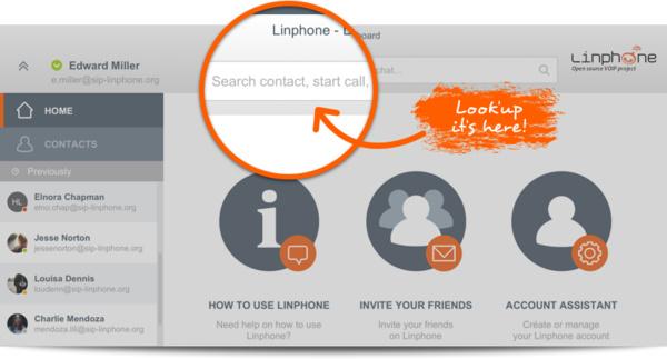 Intelligente Suchleiste von Linphone 4