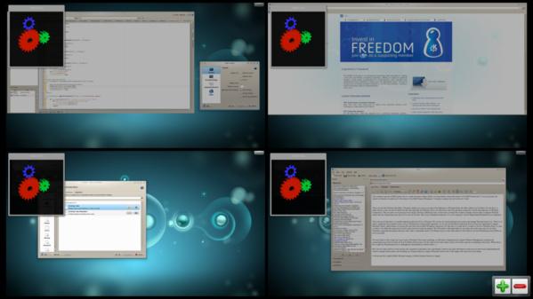 KDE mit einem Wayland-Fenster auf jedem Desktop 2011