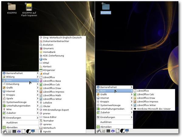 Vergleich der Büro-Anwendungen, links DVD, rechts CD