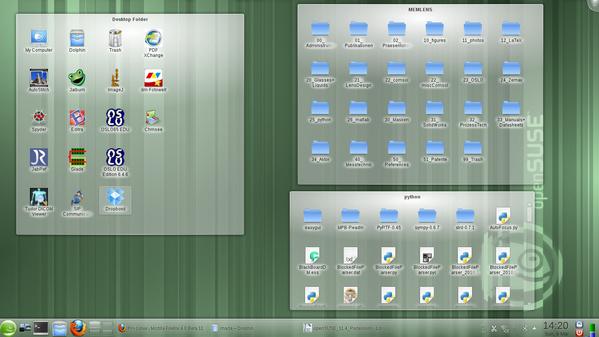 Kompletter Desktop mit drei Folderviews