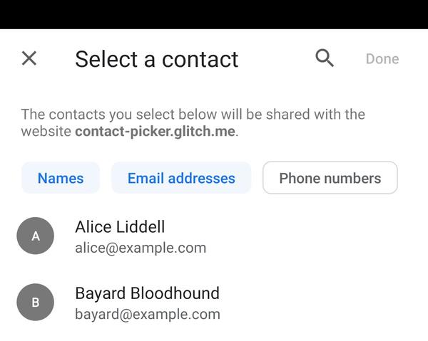 Kontakt-Auswahlbox in Chrome 77