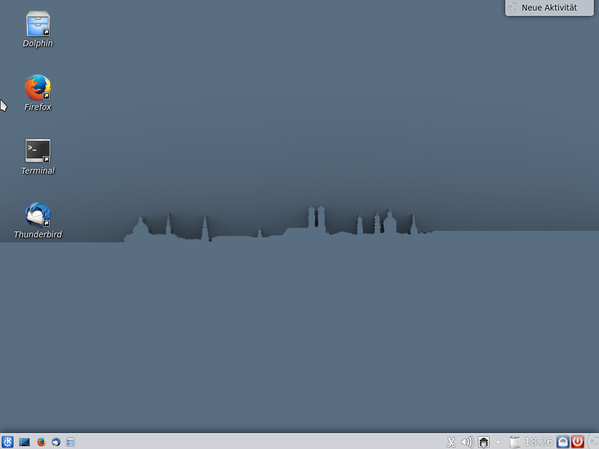 Ein schnörkelloser Linux-Desktop - vermutlich typisch für Behörden und Unternehmen