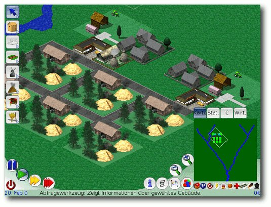 Screenshot aus LinCity-NG: Vom Dorf...