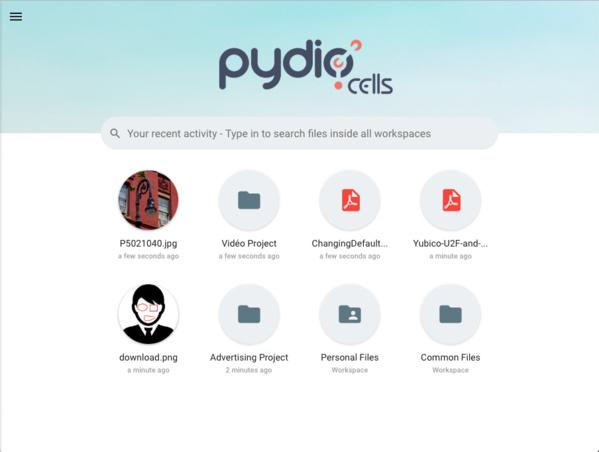 Neue Hauptseite von Pydio Cells 1.4