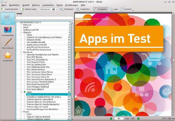 Okular: Der PDF-Reader unter KDE ist das Gegenstück zu Evince (Dokumentbetrachter) und bietet ein nützliches Werkzeug, um Ausschnitte in die Zwischenablage zu befördern
