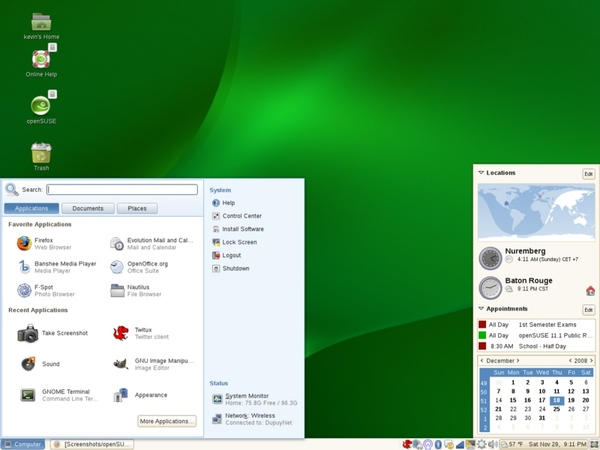 GNOME 2.24.1 in OpenSuse 11.1
