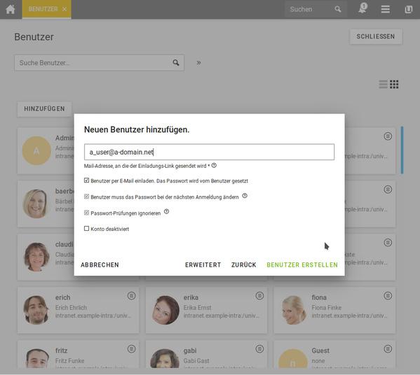 Option zum Einladen von Benutzern in Univention Corporate Server 4.4