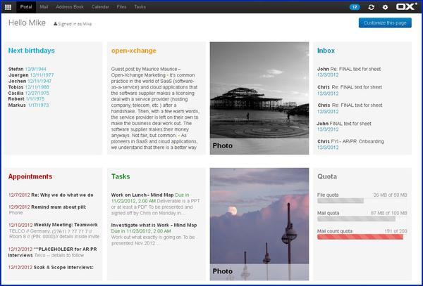 OX App Suite - Portalansicht