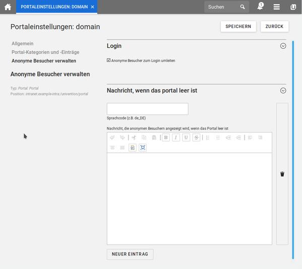 Portaleinstellungen in Univention Corporate Server 4.4