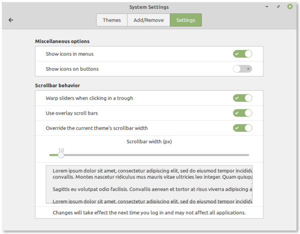 Scrollbar-Einstellungen in Linux Mint 19.2