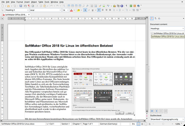 SoftMaker Office 2018 - Textmaker in der alten Ansicht