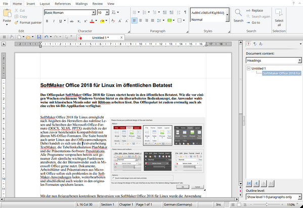 SoftMaker Office 2018 - Textmaker mit Ribbons