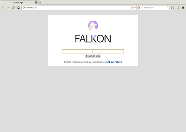 Startseite des Webbrowsers Falkon 3.1