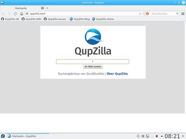 Startseite von Qupzilla