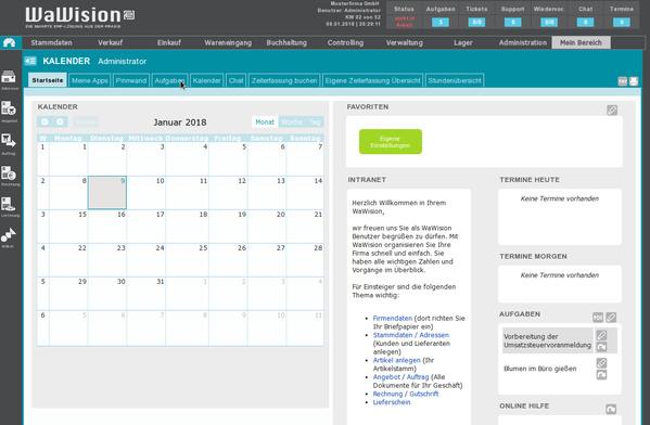 Startseite von WaWision  17.3 (Enterprise)