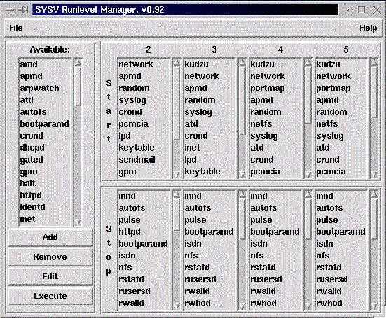 Runlevel-Editor unter Red Hat Linux 6.1