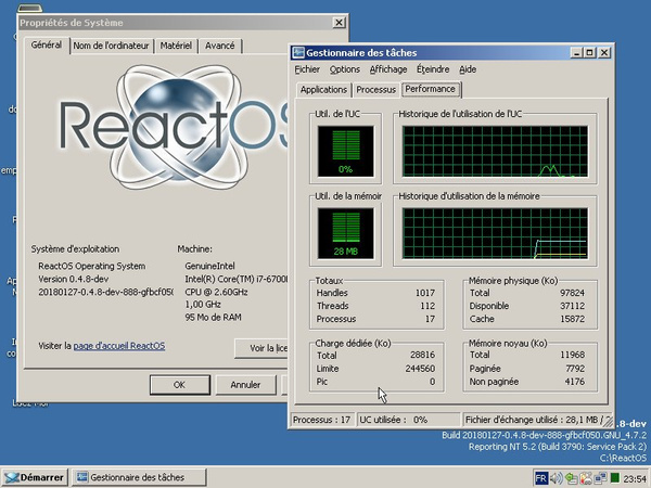Systemverbrauch in ReactOS 0.4.8