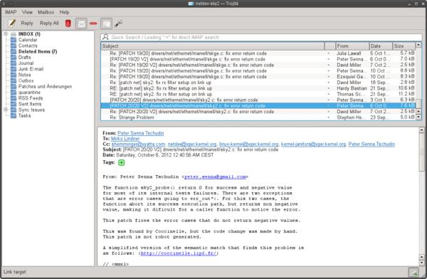 Trojita: Kompaktansicht der Emails