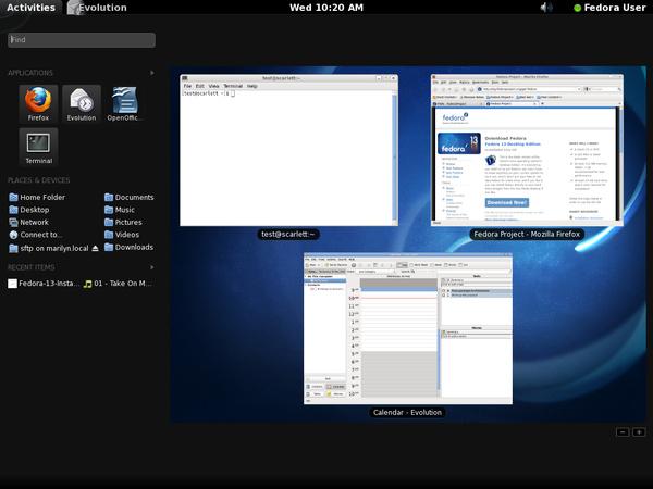 Vorschau auf Gnome Shell in Fedora 13
