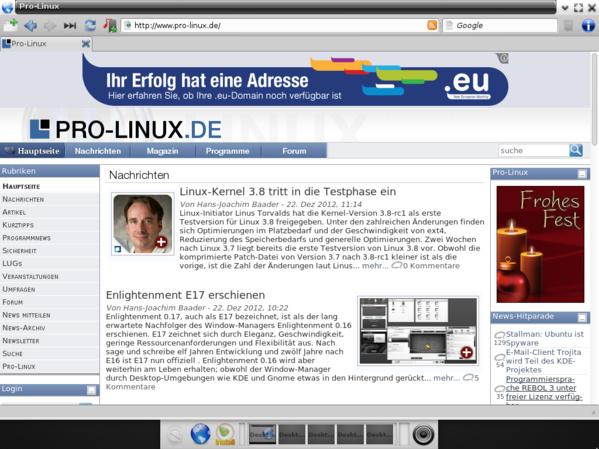 Webbrowser Midori unter E17