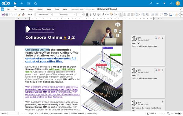 Collabora Online 4.0 Writer innerhalb von Nextcloud