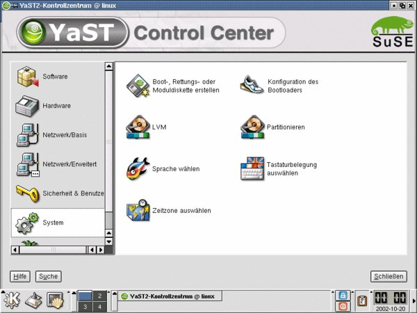YaST Control Center: Das SuSE-Chamäleon wurde noch nicht überall durch das UnitedLinux-Logo ersetzt.
