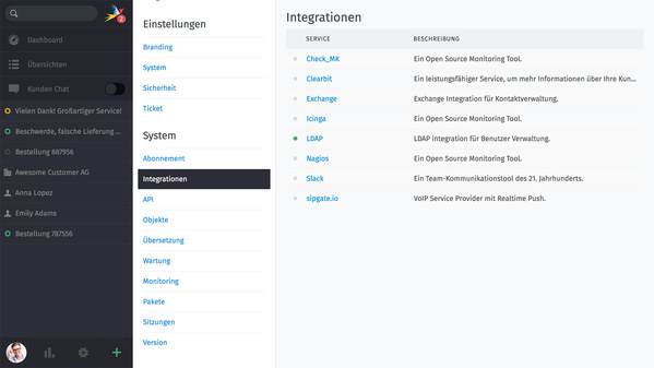 Zammad 2.0: Integrationen