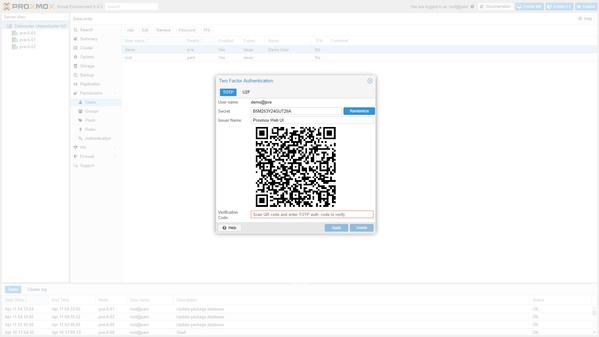 Zweifaktorauthentifizierung in Proxmox VE 5.4